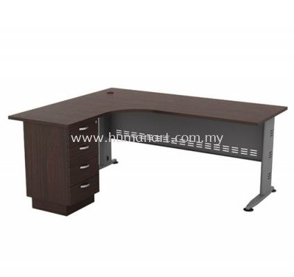 5' x 5' L-SHAPE TABLE METAL J-LEG  C/W METAL MODESTY PANEL & FIXED PEDESTAL 4D QL 1515-4D(L)