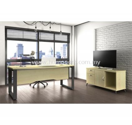 EXECUTIVE TABLE METAL O-LEG WITH WOODEN MODESTY PANEL SQWB 180A SET