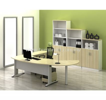 EXECUTIVE TABLE D-SHAPE METAL J-LEG C/W METAL MODESTY PANEL WITH CABINET & SIDE DISCUSSION TABLE BMB 55 FULL SET