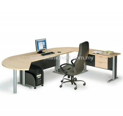 RECTANGULAR WRITING TABLE METAL J-LEG C/W SIDE TABLE & SIDE DISCUSSION TABLE TT 158 MANAGER SET A (INNER)