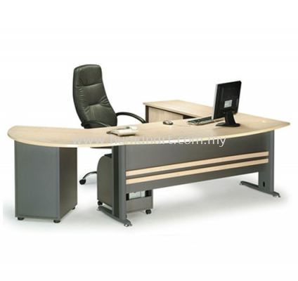 EXECUTIVE TABLE METAL J-LEG C/W SIDE CABINET &  SIDE DISCUSSION TABLE WITH FIXED PEDESTAL MANAGER TABLE SET TMB 180A (FRONT)