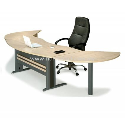 EXECUTIVE TABLE CURVE METAL J-LEG C/W FIXED PEDESTAL  & SIDE DISCUSSION TABLE MANAGER SET TMB55 (FRONT)