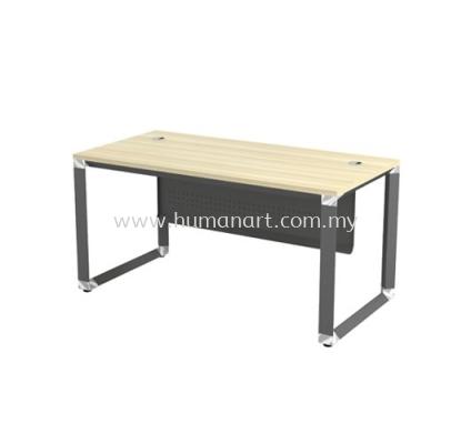 RECTANGULAR WRITING TABLE METAL PYRAMID LEG C/W STEEL MODESTY PANEL OMT 127