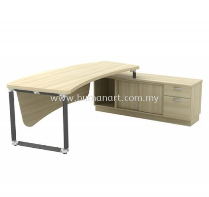 DIRECTOR TABLE METAL PYRAMID LEG C/W WOODEN MODESTY PANEL & SIDE CABINET Q-OXR 2462 (Table Top 41THK)