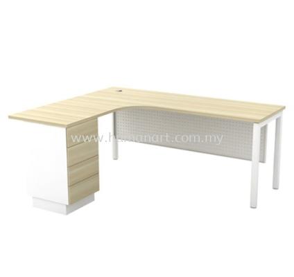 MUPHI EXECUTIVE OFFICE TABLE/DESK L-SHAPE & FIXED PEDESTAL 4D - Bandar Botanic | Bandar Bukit Raja | Bandar Bukit Raja