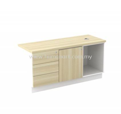 SIDE CABINET C/W OPEN SHELF +SWINGING DOOR (L) + FIXED PEDESTAL 3D (W/O HANDLE) B-YLP 1236