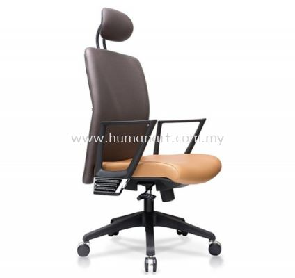 AMPLO EXECUTIVE HIGH BACK LEATHER CHAIR C/W NYLON ROCKET BASE ACL 477(A)