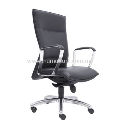HALLFAX DIRECTOR MEDIUM BACK LEATHER CHAIR C/W ALUMINIUM DIE-CAST BASE