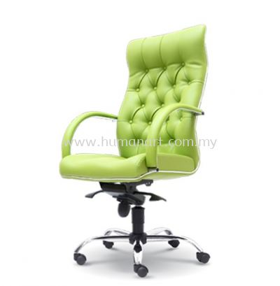 MORE DIRECTOR HIGH BACK LEATHER CHAIR C/W CHROME METAL BASE