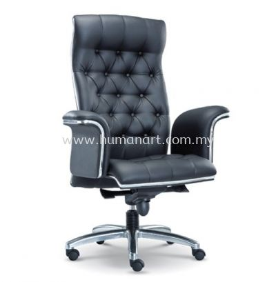 MD DIRECTOR HIGH BACK LEATHER CHAIR C/W CHROME TRIMMING LINE