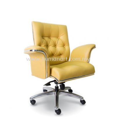 MD DIRECTOR LOW BACK LEATHER CHAIR C/W CHROME TRIMMING LINE