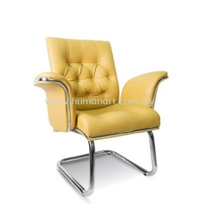 MD DIRECTOR VISITOR LEATHER CHAIR C/W CHROME TRIMMING LINE