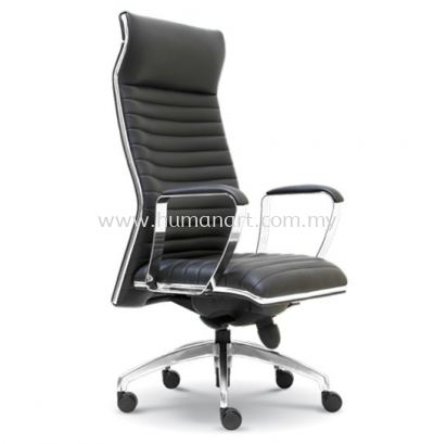 ZICA DIRECTOR HIGH BACK LEATHER CHAIR WITH CHROME TRIMMING LINE
