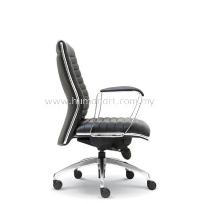 ZICA DIRECTOR LOW BACK LEATHER CHAIR WITH CHROME TRIMMING LINE