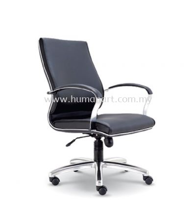 CONTI DIRECTOR MEDIUM BACK LEATHER CHAIR WITH CHROME TRIMMING LINE
