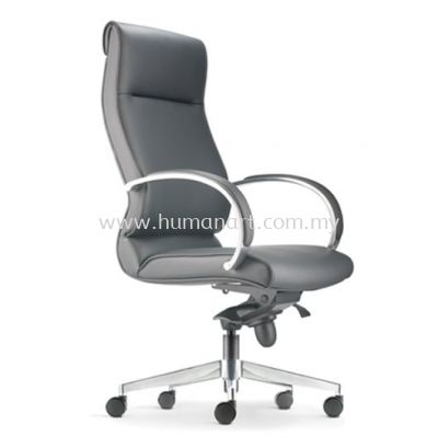 KLAIR EXECUTIVE HIGH BACK LEATHER CHAIR WITH ALUMINIUM DIE-CAST BASE KL-1L