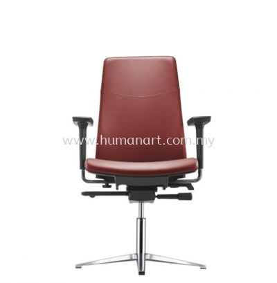 HUGO EXECUTIVE VISITOR LEATHER CHAIR C/W ARMREST WITH ALUMINIUM BASE AHG 6213L