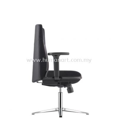 HUGO VISITOR LEATHER CHAIR C/W ARMREST WITH ALUMINIUM BASE AHG 6213F