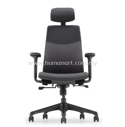 HUGO EXECUTIVE HIGH BACK FABRIC CHAIR METAL SYNCHRONIZED C/W ROCKET NYLON BASE AHG 6210F