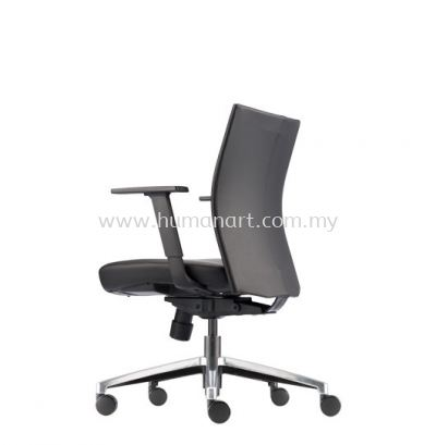 MESH ll EXECUTIVE LOW BACK LEATHER OFFICE CHAIR WITH ALUMINIUM DIE-CAST BASE - segambut | kepong | menjalara