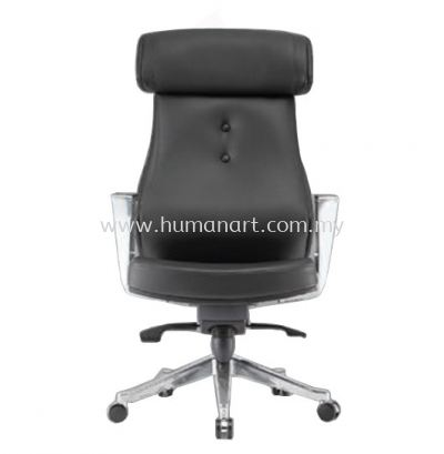BEGONIA DIRECTOR HIGH BACK LEATHER CHAIR C/W ALUMINIUM ROCKET DIE-CAST BASE