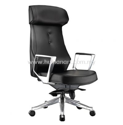 BEGONIA DIRECTOR HIGH BACK LEATHER CHAIR C/W ALUMINIUM DIE-CAST BASE