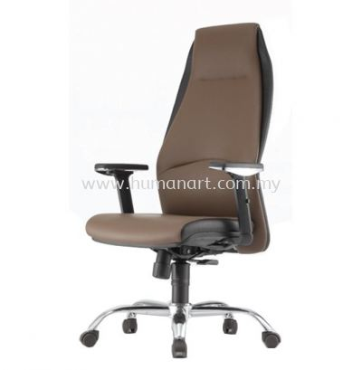ZINNIA EXECUTIVE HIGH BACK LEATHER CHAIR C/W CHROME METAL BASE