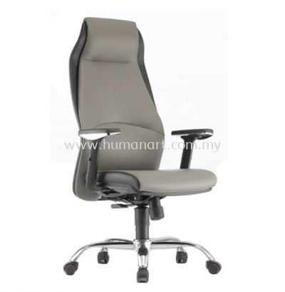 ZINNIA EXECUTIVE CURVE HIGH BACK LEATHER CHAIR C/W CHROME METAL BASE