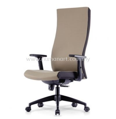 KALMIA EXECUTIVE HIGH BACK LEATHER CHAIR C/W NYLON ROCKET BASE
