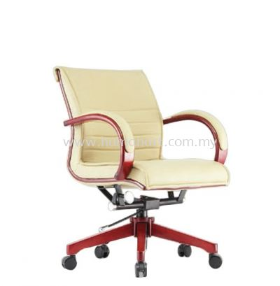 CANTARA 2A LOW BACK LEATHER CHAIR C/W WOODEN ROCKET BASE
