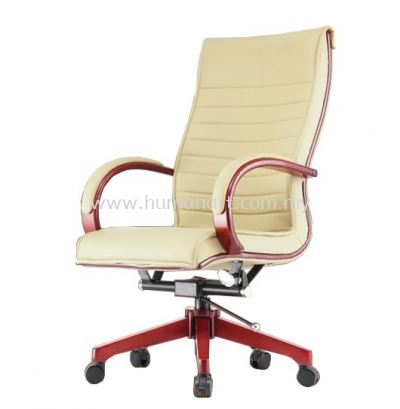 CANTARA 2A DIRECTOR HIGH BACK LEATHER CHAIR C/W WOODEN ROCKET BASE
