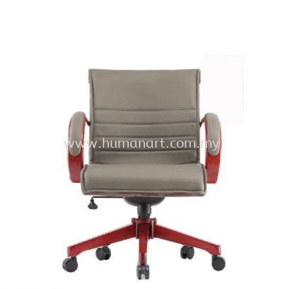 CANTARA 2B DIRECTOR LOW BACK LEATHER CHAIR C/W WOODEN ROCKET BASE