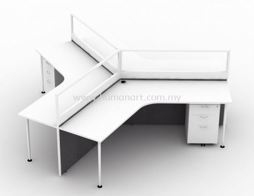 3 CLUSTER L-SHAPE WORKSTATION C/W HALF GLASS PARTITION, MONOTUBE LEG & MOBILE PEDESTAL 2D1F