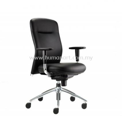 BRYON EXECUTIVE MEDIUM BACK LEATHER CHAIR C/W ALUMINIUM DIE-CAST BASE BY-2L