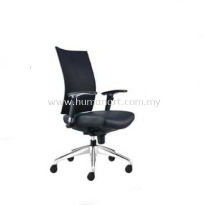 INCLUDE EXECUTIVE MEDIUM BACK LEATHER CHAIR WITH ALUMINIUM DIE-CAST BASE ID 391L