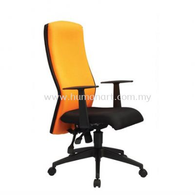 ORANGE HIGH BACK FABRIC CHAIR WITH ROCKET NYLON BASE OR1