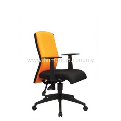 ORANGE LOW BACK FABRIC CHAIR WITH ROCKET NYLON BASE OR3