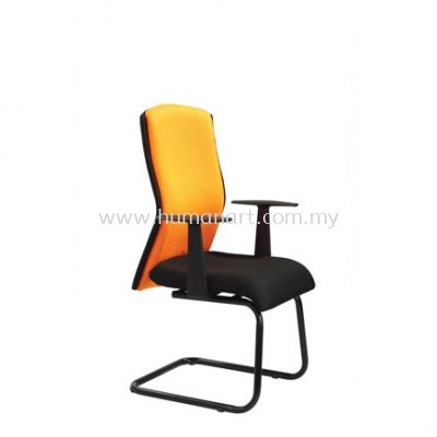 ORANGE VISITOR FABRIC CHAIR WITH EPOXY BLACK CANTILEVER BASE OR4