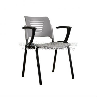 AEXIS PP CHAIR C/W ARMREST & 4 LEGGED EPOXY BLACK METAL BASE ACL 56-(A01)