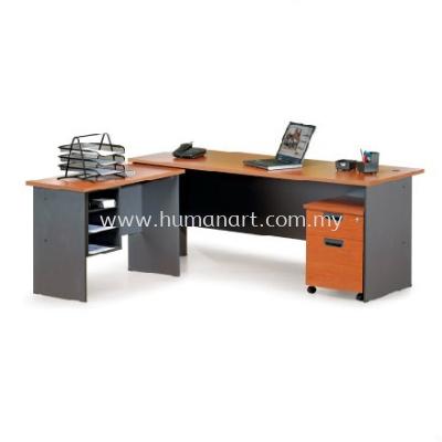 RECTANGULAR WRITING TABLE WOODEN BASE C/W SIDE TABLE & MOBILE PEDESTAL 1D1F GENERAL SET