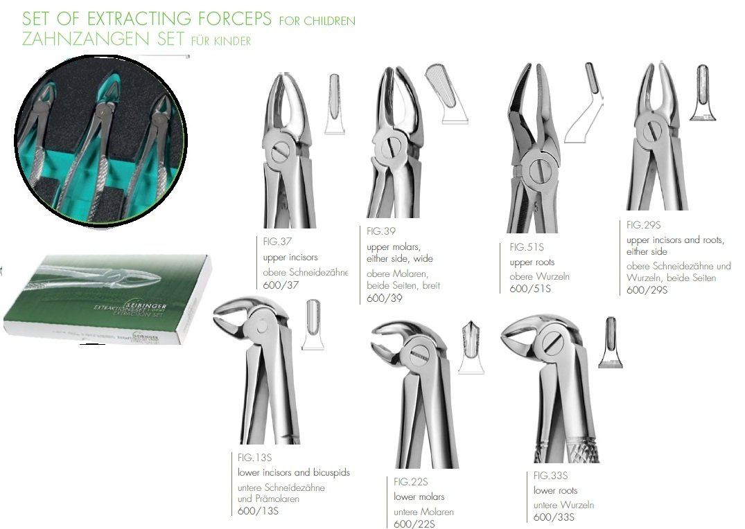 Set of Extracting Forceps For Children(Includes 7 Children Forceps)