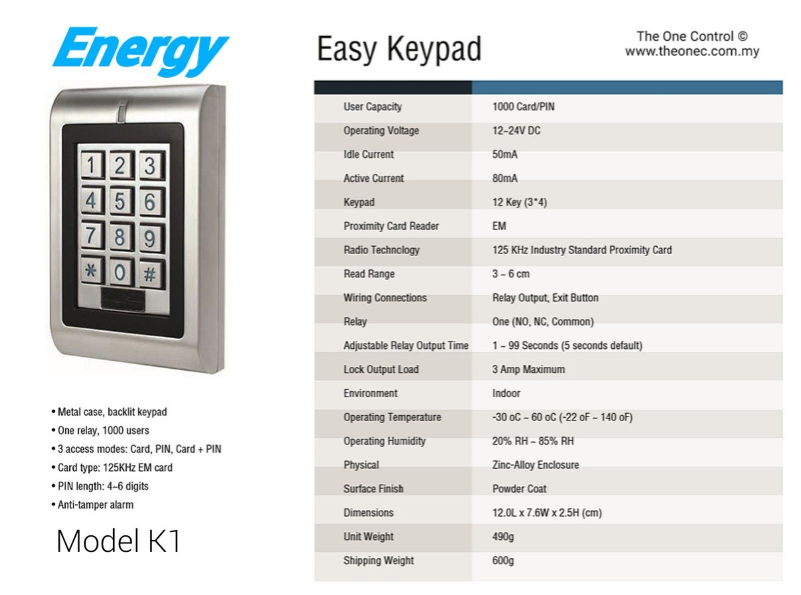 ENERGY K1 Door Access System