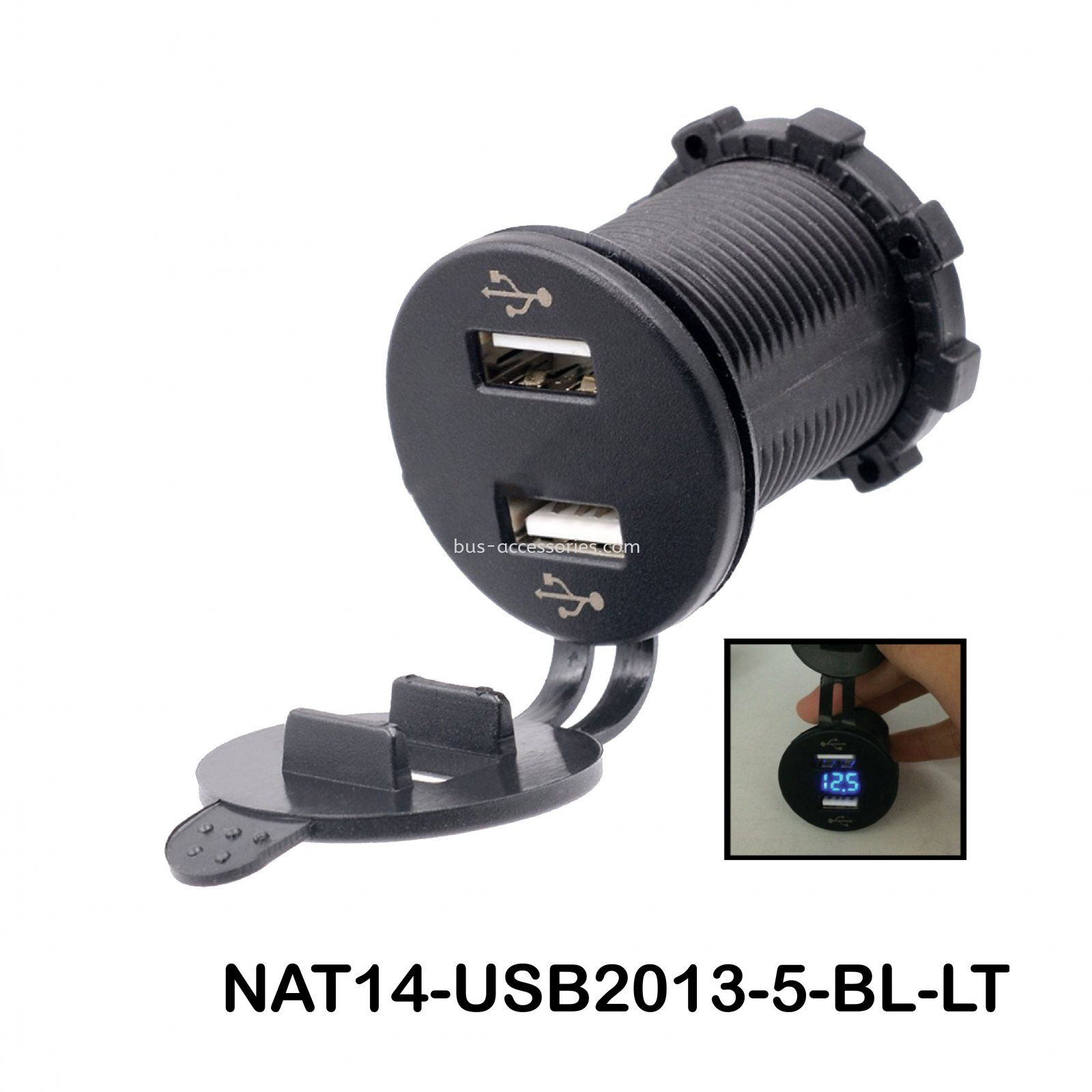 4.2A DUAL USB CHARGER SOCKET & VOLTMETER (BLUE)