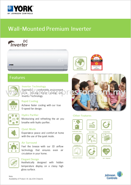 YORK R410A INVERTER WALL MOUNTED