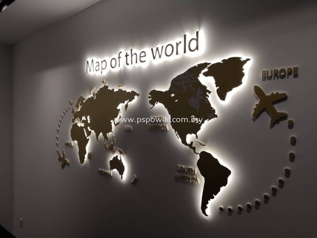 3D LED Signage - Map of the world