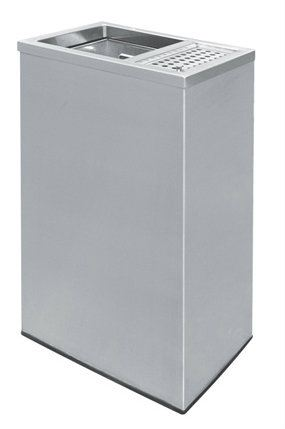 EH Stainless Steel Rectangular Waste Bin c/w1/3 Ash Tray and 2/3 Open Top
