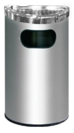 EH Stainless Steel Semi Round Bin c/w Ashtray Top