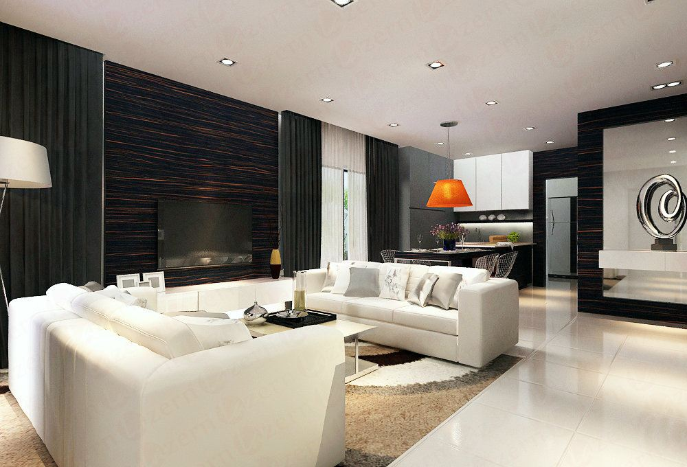 Living Area with laminated tv backdrop