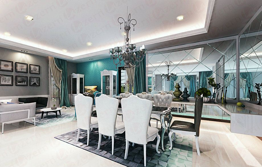 Dining area with mirror & suspended console table