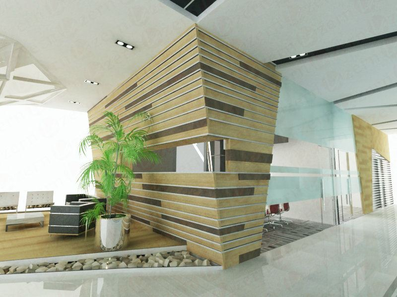 Veneer feature wall design with stainless steel stripe line design